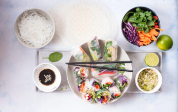 Spring rolls with veggies and rice noodles, summer rolls, healthy vegan snack, clean eating, asian food